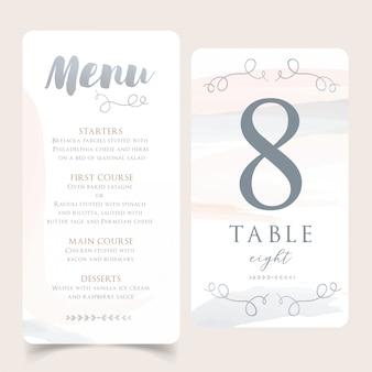 Menu neutro do casamento da aguarela com o cartão do número da mesa