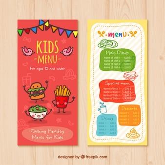 Menu para crianças com desenhos de alimentos agradáveis