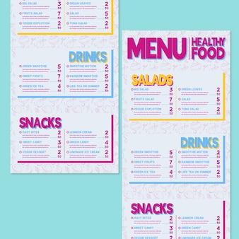 Menu para restaurante de comida saudável