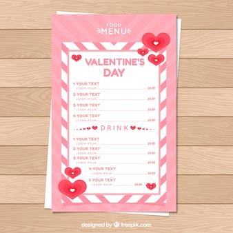 Menu plano do dia dos namorados