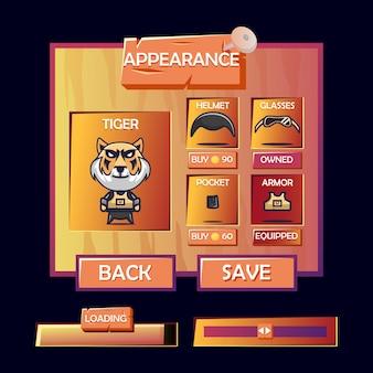 Menu pop-up de aparência de personagem de personalização e barra de carregamento com estilo de jogo de interface de usuário de madeira