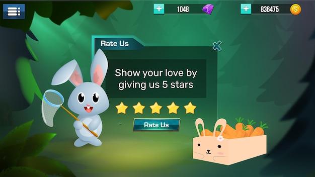 Menu pop-up de itens de interface do jogo estilizados