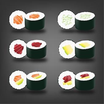 Menu realista de sushi japonês