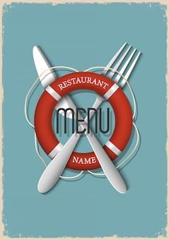 Menu retro design para restaurante de frutos do mar