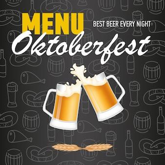 Menu, rotulação de oktoberfest com canecas tilintando de cerveja