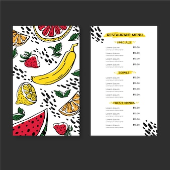 Menu saudável saudável do restaurante dos alimentos frescos e das bebidas