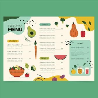 Menu vegetariano de design plano desenhado à mão