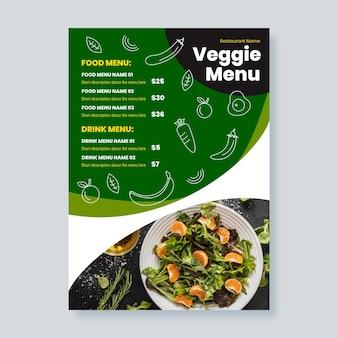 Menu vegetariano de design plano