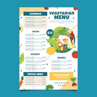 Menu vegetariano de estilo desenhado à mão