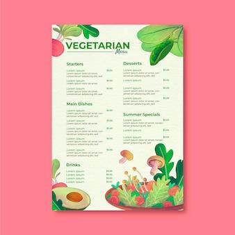 Menu vegetariano saudável em aquarela