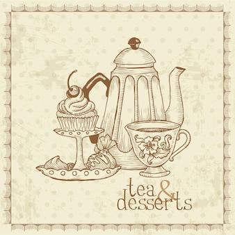 Menu vintage de chá e sobremesas