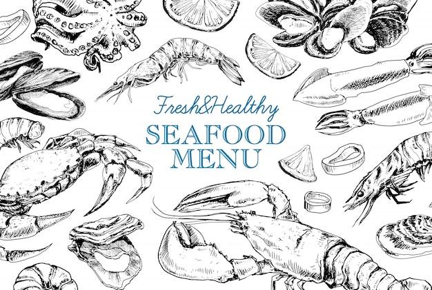 Menu vintage de frutos do mar no estilo de desenho
