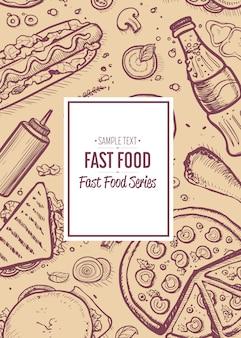 Menu vintage de restaurante de fast-food