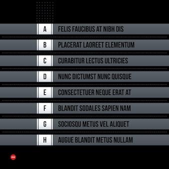 Menus corporativos futuristas / modelo de lista em fundo preto