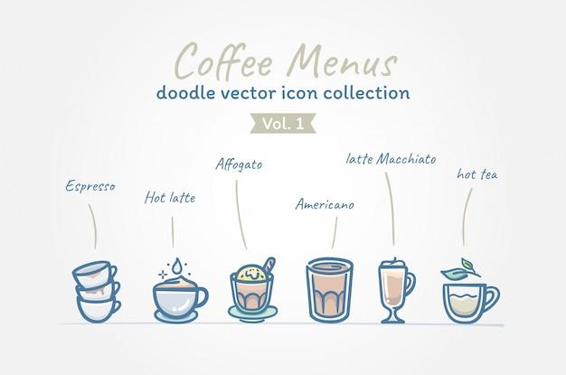Menus de café doodle coleção de ícone de vetor