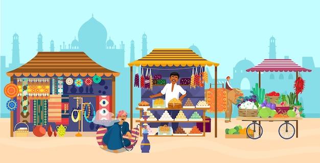 Mercado asiático com diferentes lojas e pessoas