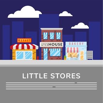 Mercado com cafeteria e padaria pequenas lojas edifícios fachadas cena de rua ilustração vetorial design