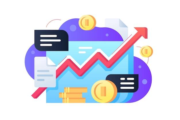 Mercado de ações com ilustração de moedas. estilo plano de linha crescente vermelha. quadro financeiro. análise de dados e conceito de negócio. isolado
