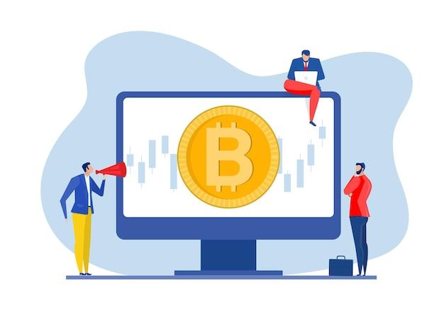 Mercado de ações de análise de estratégia de negócios com ilustrador de vetor de crescimento ascendente de bitcoin.