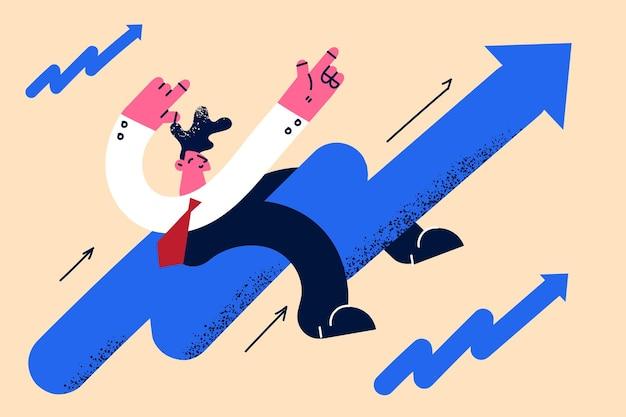 Mercado de ações de desenvolvimento crescendo conceito positivo de crescimento
