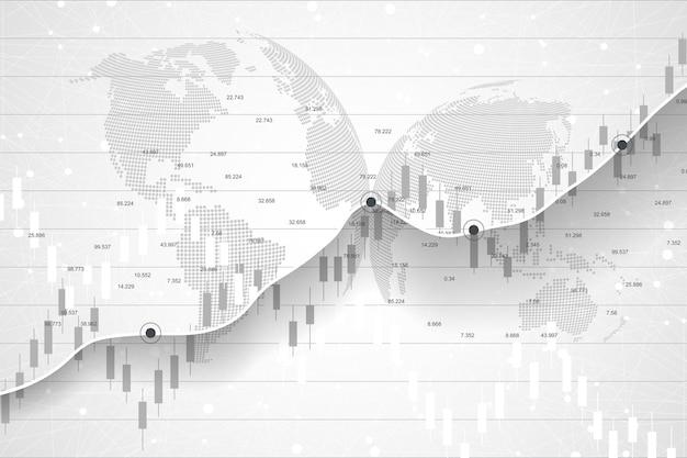 Mercado de ações e bolsa. gráfico de gráfico de bastão de vela de negociação de investimentos no mercado de ações. dados do mercado de ações. ponto de alta, tendência do gráfico. ilustração vetorial.