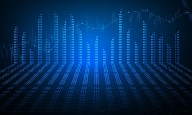 Mercado de ações, gráfico econômico com diagramas, conceitos e relatórios financeiros e de negócios, fundo abstrato do conceito de comunicação de tecnologia