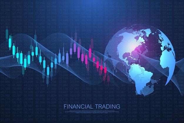 Mercado de ações ou forex trading gráfico gráfico de negócios para investimento financeiro.