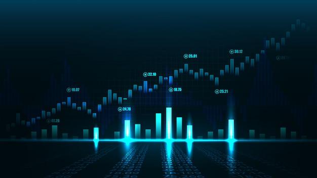 Mercado de ações ou forex trading gráfico no conceito gráfico