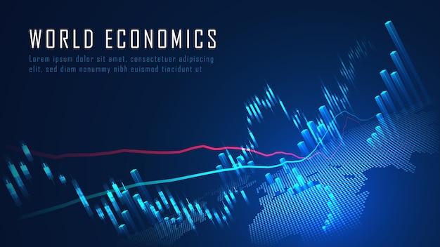 Mercado de ações ou gráfico de negociação forex em conceito gráfico adequado para investimento financeiro ou ideia de negócio de tendências econômicas e todo o design de trabalho de arte. conceito de fundo financeiro abstrato