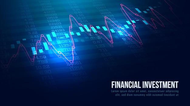 Mercado de ações ou gráfico de negociação forex em conceito gráfico adequado para investimento financeiro ou ideia de negócio de tendências econômicas e todo o design de trabalho de arte. fundo abstrato de finanças.