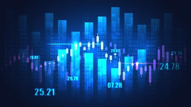 Mercado de ações ou gráfico de negociação forex em conceito gráfico adequado para investimento financeiro ou ideia de negócios de tendências econômicas e todo o design de trabalho de arte.