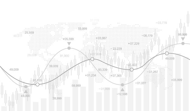 Mercado de ações ou gráfico de negociação forex no conceito futurista para investimento financeiro ou ideia de negócio de tendências econômicas. conceito de comércio financeiro. mercado de ações e troca vetor gráfico de gráfico de vara de vela.