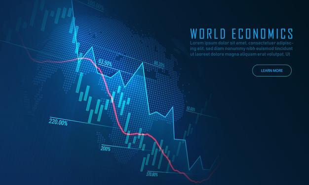 Mercado de ações ou gráfico de negociação forex no gráfico