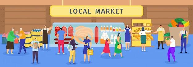 Mercado de alimentos da fazenda local, pessoas dos desenhos animados, compras, personagens de homem mulher comprando de agricultores carne, pão ou legumes