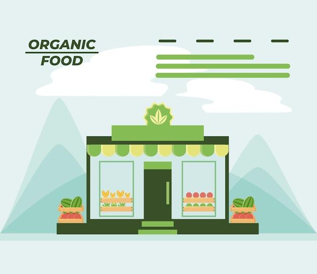Mercado de alimentos orgânicos com ilustração em vetor frutas frescas e nutrição