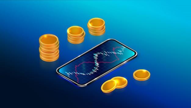 Mercado de bolsa de valores ou retorno do investimento com aplicativo móvel.