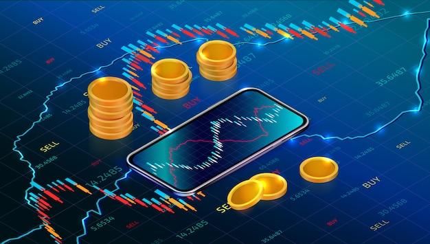 Mercado de bolsa de valores. retorno do investimento com o aplicativo para dispositivos móveis. forex trading com smartphone
