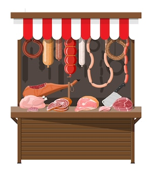 Mercado de carnes isolado no branco
