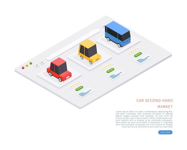 Mercado de carros em segunda mão conceito de mercado de carros em segunda mão em ilustração vetorial isométrica.