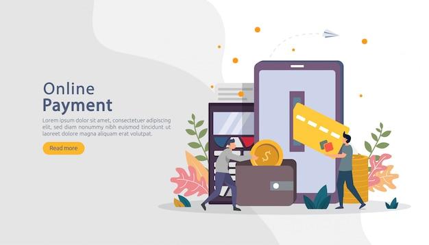 Mercado de comércio eletrônico, compras on-line ilustração com caráter de pessoas pequenas. pagamento móvel ou transferência de dinheiro