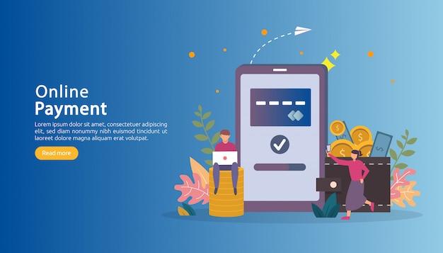 Mercado de comércio eletrônico, compras on-line ilustração com caráter de pessoas pequenas.