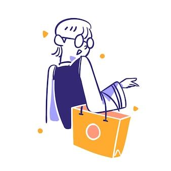 Mercado de comércio eletrônico ícone da compra de itens de moda para consumidores segure uma sacola de compras esboço estilo desenhado à mão