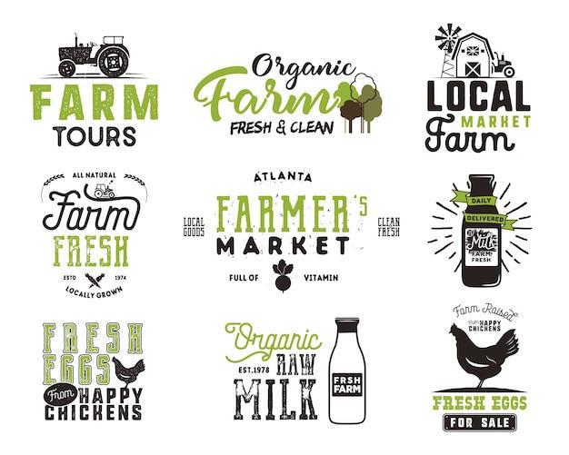 Mercado de fazendeiro, alimentos orgânicos, leite e ovos emblemas definido. projetos de logotipo de produtos frescos e locais. insígnia de fazenda eco tipográfica em estilo preto e verde.