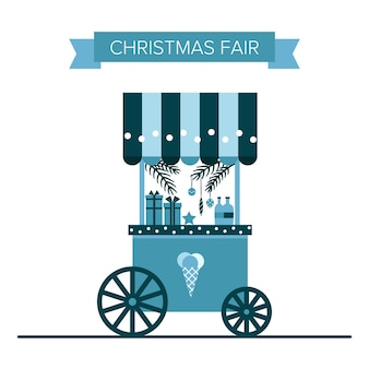 Mercado de feiras de sorvetes e doces de natal no inverno, carrinhos de lembranças e lojas de presentes