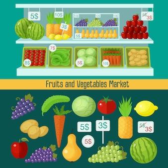 Mercado de frutas e legumes. conceito de alimentação saudável