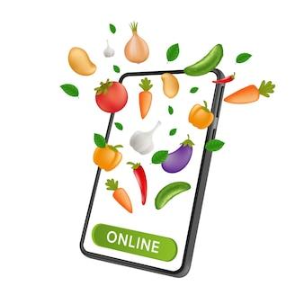 Mercado de mercearia fresh farm. pedidos e entregas online de food service. smartphone móvel com vegetais naturais e um botão de clique na tela.