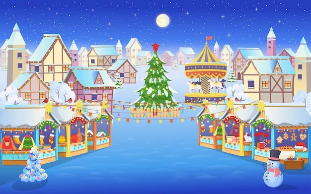 Mercado de natal com pessoas, uma árvore de natal, carrossel com cavalos e casas. ilustração em vetor no estilo cartoon.