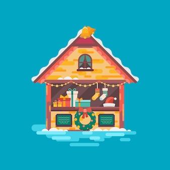 Mercado de natal. ilustração de humor de natal.
