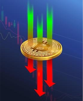 Mercado de negociação de bitcoin para criptomoedas em queda nos mercados de ações