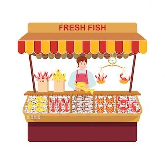 Mercado de peixe com vendedores e frutos do mar.
